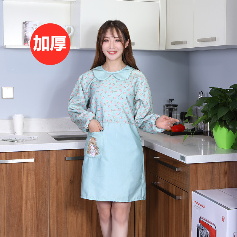 Apron Cute Long-sleeved Female Home Kitchen Waterproof Oil-resistant Fashion Cooking With Sleeves Coat Smock Adult Work Clothes