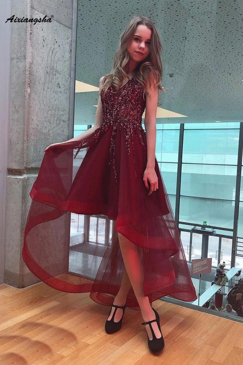 Bourgogne haute basse robes de bal col en v cristal 8 Grade Graduation robe de soirée longue robe de bal 2019