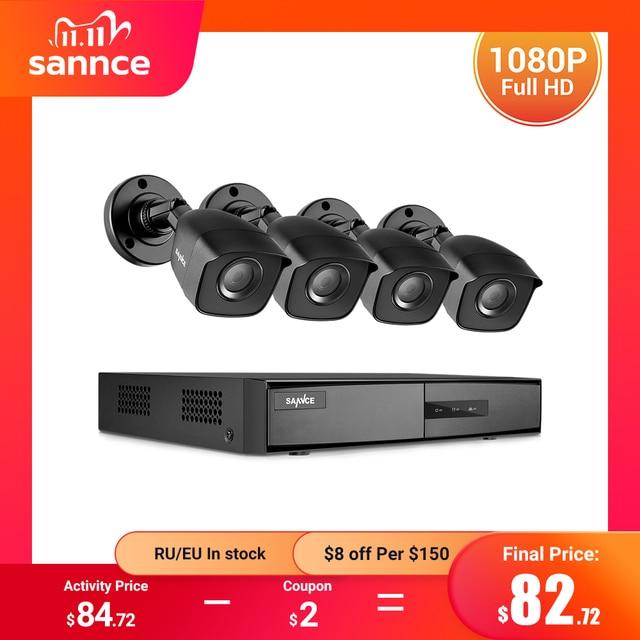 SANNCE 8CH 1080N DVR 1080N CCTV 시스템 1080P 2.0MP 보안 카메라 IR 야외 IP66 비디오 감시 키트 모션 감지