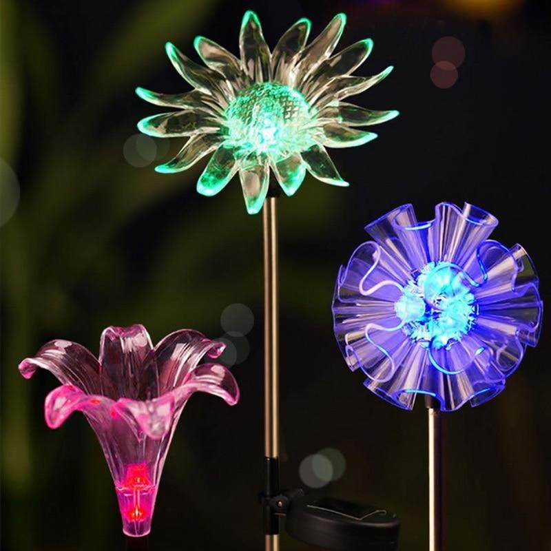 1pcFlower Solar Light Outdoor Solar Garden Lights   Sunflower Stake Lights For Yard Garden Path Way Landscape Decor New