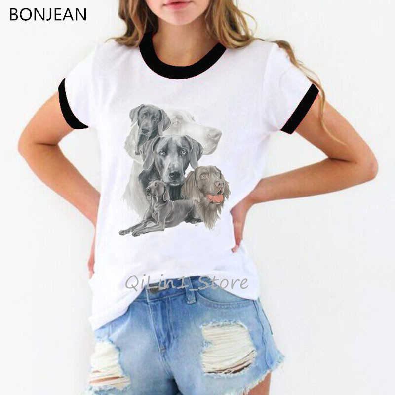 Vintage Weimaraner grupowanie t-shirt z nadrukiem damskie przyjaciele tshirt miłośnik psów ringer tees lato 2020 top odzież streetwear