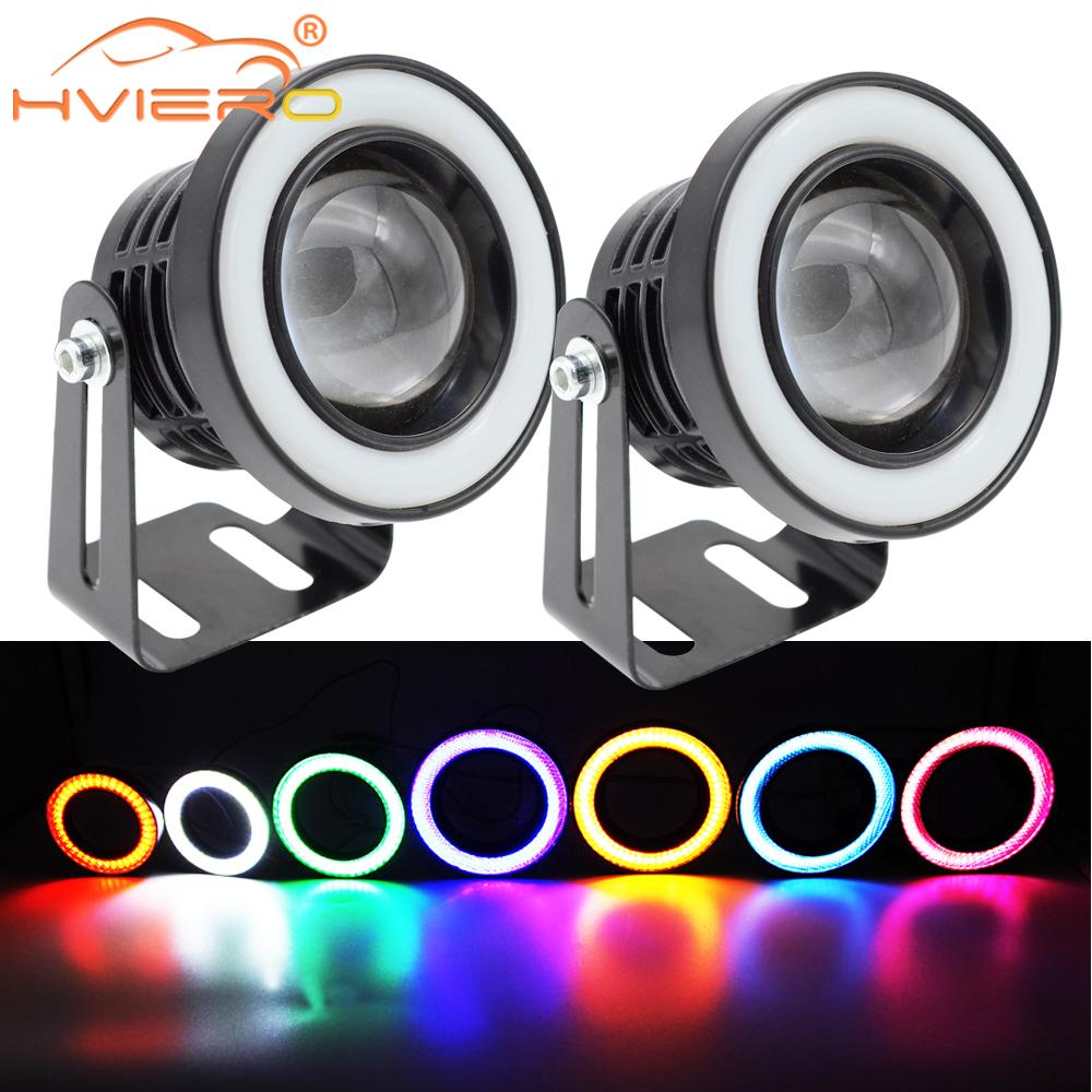 2X COB Auto Led Headlamp Angel Eyes Hole Ring Fog Lights Lens Car Led Headlight Bulbs Daytime Running Light Fog Lamp Assembly