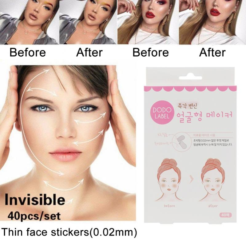 40 pc / set of V-shaped face label lifting fast chin tape Facial Line Wrinkle Sagging Skin Lift Up Tape Beauty Face Care TSLM1