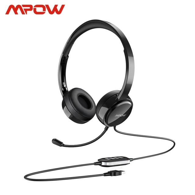 Casque filaire Mpow PA071 AUX avec réduction du bruit casque antibruit à mémoire de protéines de contrôle en ligne avec micro pour Center dappels informatique Skype