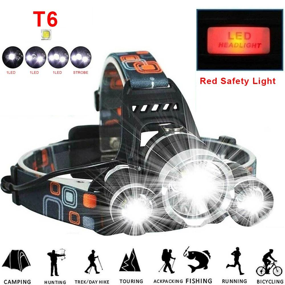 Super Bright LED Headlamp Flashlight Rechargeable 3XT6 LED Hard Hat Headlight Camping High Power Night Fishing Headlights Riding