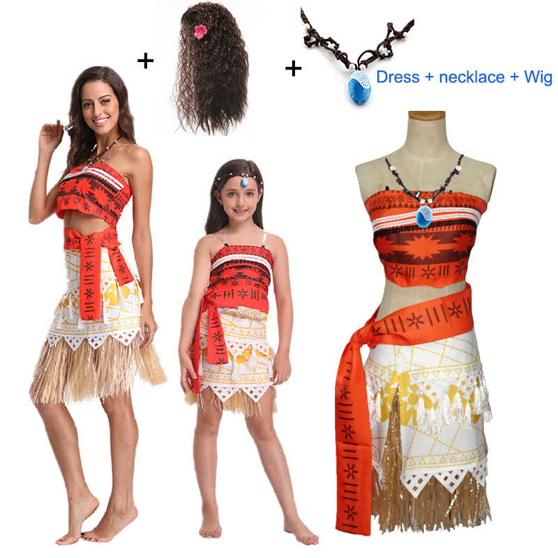 Kids Girl Fancy Dress Costume Moana Princess Cosplay Outfits Party Skirt Clothes