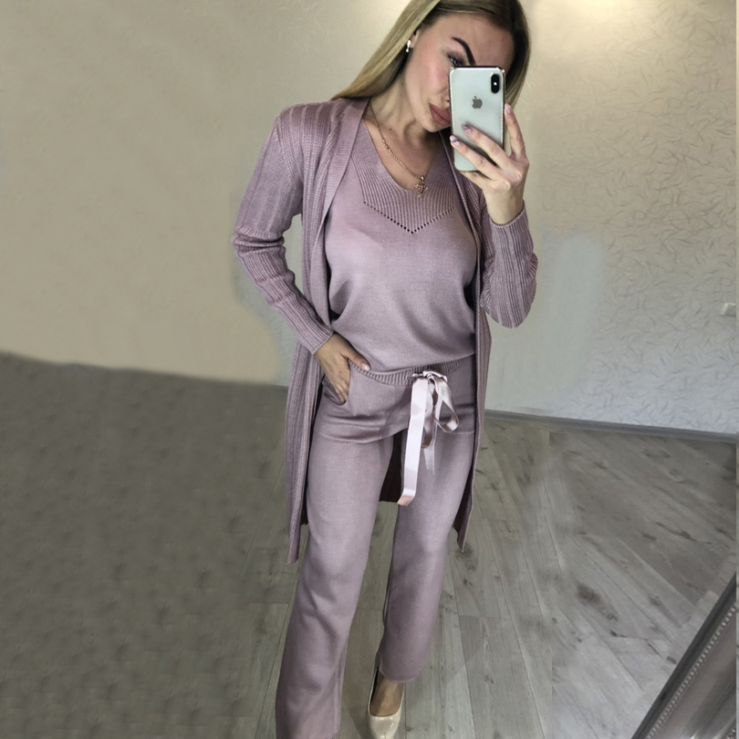 2019 Real V-neck Full Drawstring Cotton None New Women's Knit Suit Vest Pants Cardigan Three-piece Women Fashion Suits