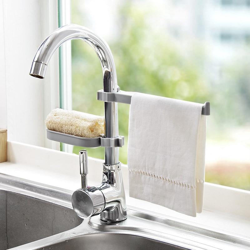 Sink Hanging Storage Rack Sponge Storage Holder Bathroom Kitchen Faucet Clip Dish Cloth Clip Shelf Drain Dry Towel Organizer
