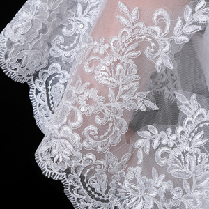 Image 5 - Scialle da spiaggia formale da donna in avorio con Applique in pizzo Tulle elegante da sposa Vintage con scialle da spiaggia