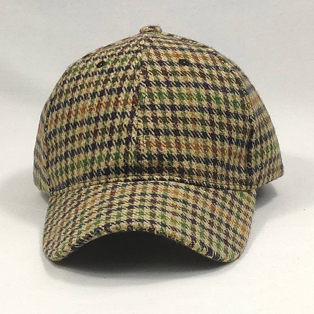 Adjustable Vintage Men Cap Plaid Tweed Baseball Hat Dad Hat Winter Autumn Red Grey