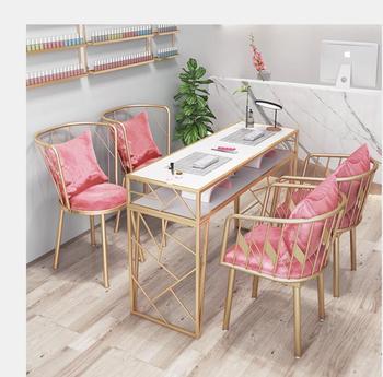 Netto czerwony ins wiatr marmurowy stół do malowania paznokci i zestaw krzeseł pojedynczy podwójny złoty żelazo prosty stół do malowania paznokci tanie i dobre opinie Andessoer CN (pochodzenie) Meble do salonu Stół paznokci Meble komercyjne