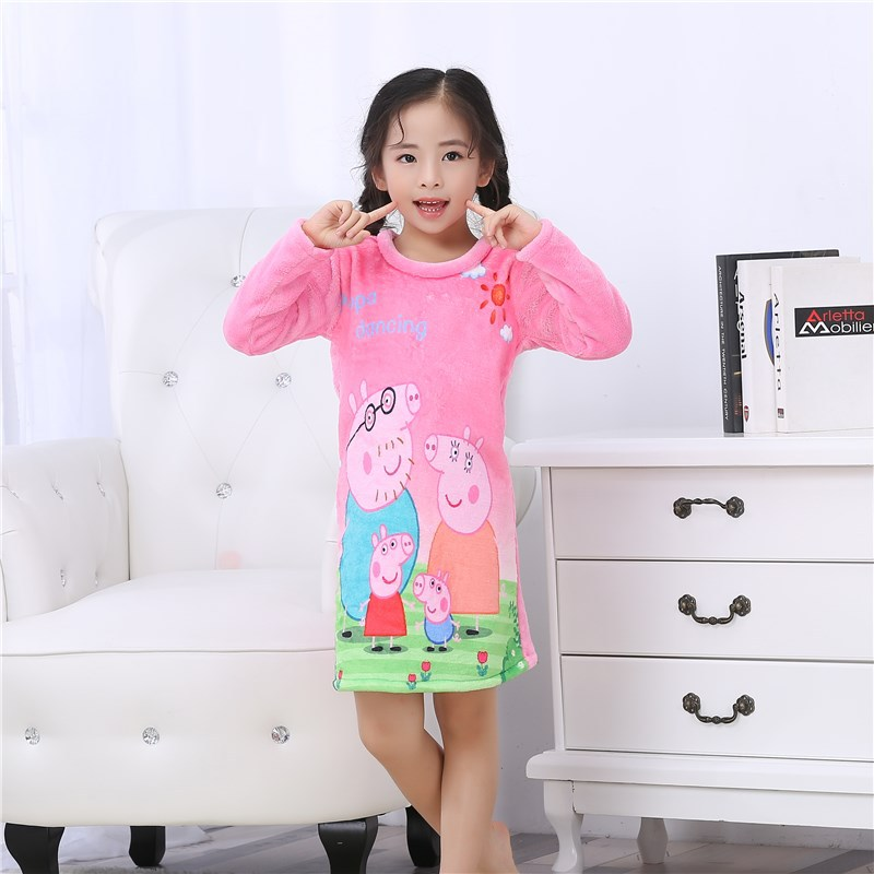 2018 Spring, Autumn And Winter Warm Long Sleeve Children Flannel Nightgown Baby Girls Princess Skirt Coral Velvet Pajamas