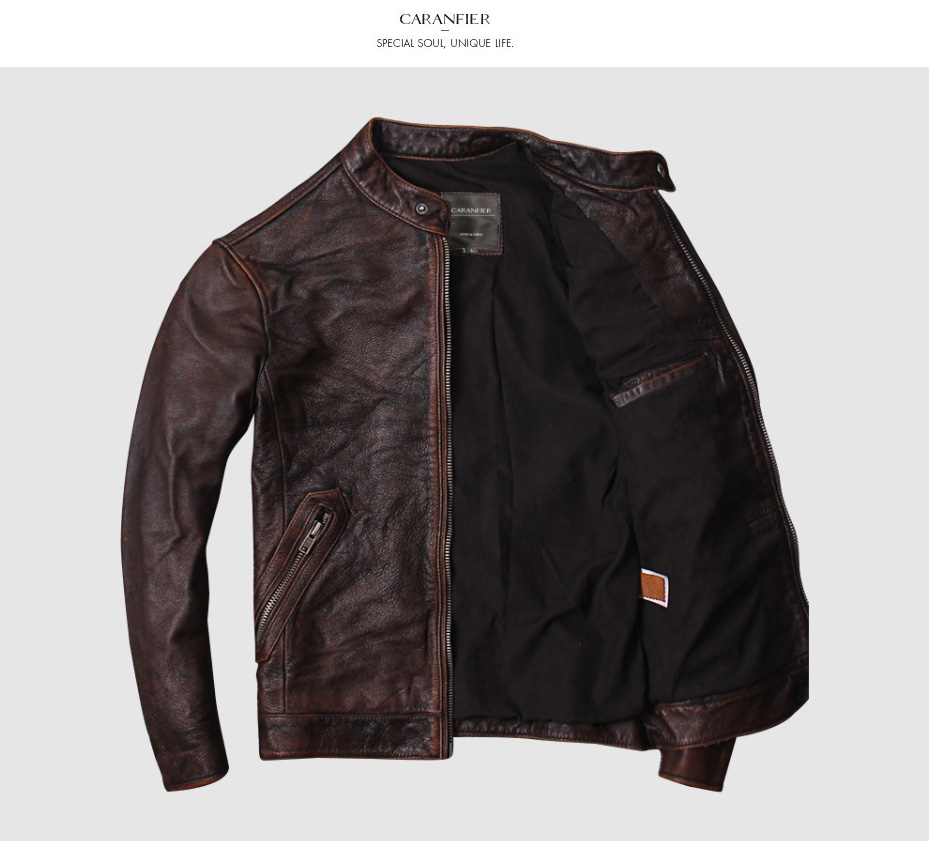 H60a9352aef67467ab8a0c6f6d44b1b1f1 CARANFIER DHL Free Shipping Mens 100% Cowhide Genuine Leather Jacket High quality old retro motorcycle leather jacket 3XL