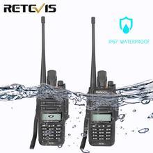 2 piezas RETEVIS IP67 Walkie Talkie impermeable RT6 5 W 128CH VHF UHF FM Radio VOX de alarma SOS profesional de dos forma de la estación de Radio
