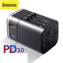 Baseus cargador de enchufe USB de 18W, compatible con carga rápida 4,0, adaptador de la UE, cargador de teléfono móvil de viaje para EE. UU., PD 3,0, carga rápida para iPhone