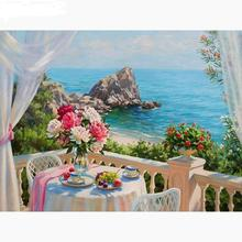 5D diamond painting Full Square embroidery scenery dining room Diamond Mosaic Seaside hang picture fashion 5d square diamond painting tree full square autumn scenery diamond embroidery crystal mosaic picture decoration