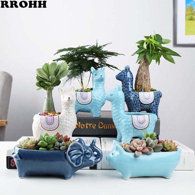 Cartoon Cute Alpaca Succulent Flower Pot Desktop Placed Potted Container Decoration Gift Balcony Plant Ceramic Creative
