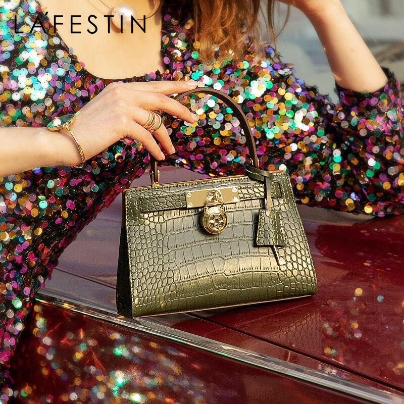 LAFESTIN 2020 New Fashion Women Bag Luxury Shoulder Messenger Bag Small Crocodile Texture Leather Handbag