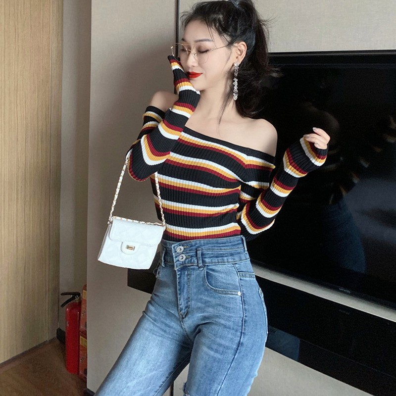 Winter Sweater Women Retro Rainbow Stripe Sweaters Slim Long Sleeved Slash Neck Bottom Knit Sweater Thin Strapless Pull Femme: