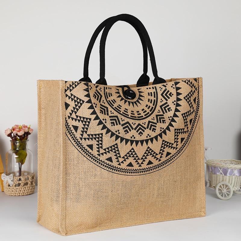 2020 New Fashion 3 Sizes Retro Jute Burlap Cotton Environmental Linen Reusable Tote Shopping Bags Womens Printing Handbag