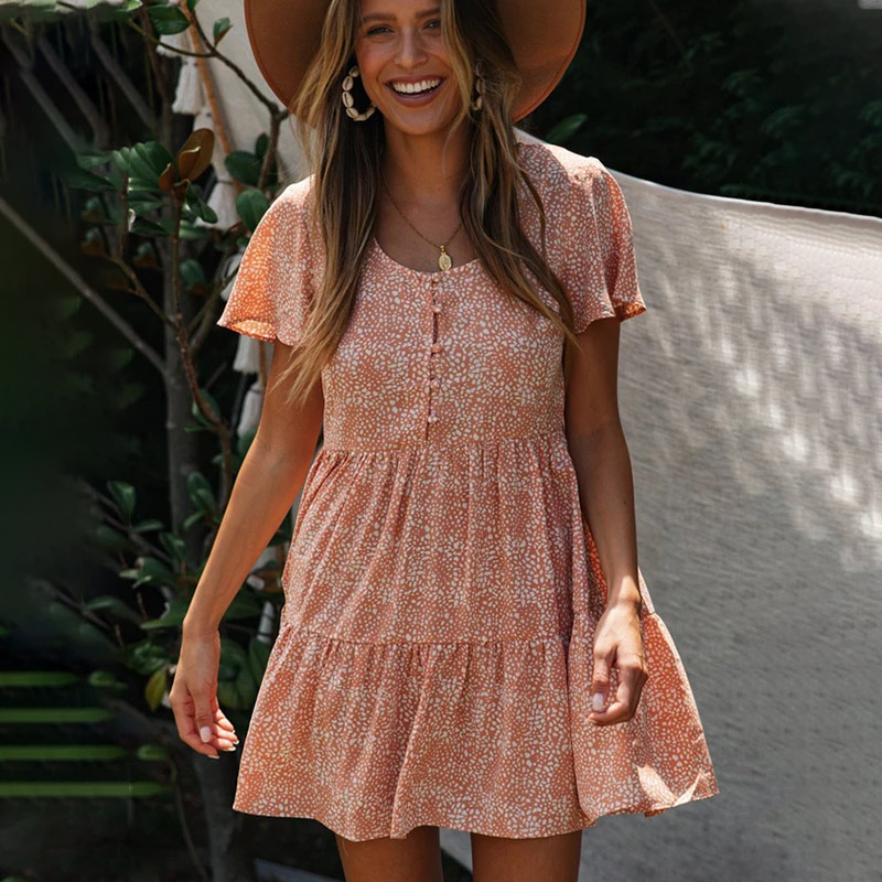 Ruffled Single-breasted Women's Mini Dress Printed Short Sleeve A-line Loose Female Dresses 2020 Summer Sweet Ladies Vestidos