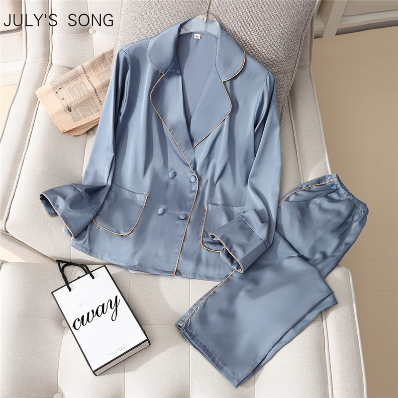Julysong s song faux silk pijamas conjunto primavera verão sleepwear casual solto calças de mangas compridas gelo seda turn-down colarinho feminino