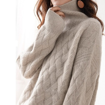 JINJIAXIAN Autumn and Winter New Cashmere Sweater Women's High-Necked Pullover Loose Thick Sweater Short Paragraph Knit Shirt 1