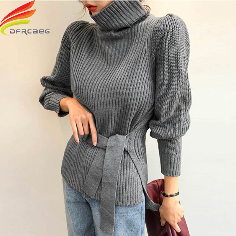 New 2020 Winter Turtleneck Sweater Women With Belt Pink Gray Beige Or Black Sweaters And Pullovers Thicken Warm Knitted Sweater
