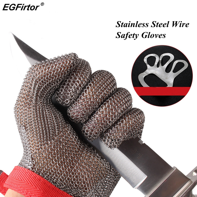 5 Level Anti-cutting Work Gloves Stainless Steel Wire Safety Gloves Safety Stab Resistant Work Gloves Cut Metal