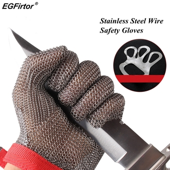 5 Level Anti-cutting Work Gloves Stainless Steel Wire Safety Gloves Safety Stab Resistant Work Gloves Cut Metal 1 pair anti cut gloves cut proof stab resistant stainless steel level 5 protect industrial work safety gloves