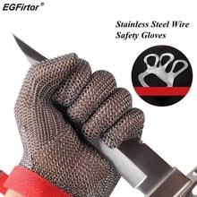 Luvas anticorte com 5 níveis, luvas de segurança do fio de aço inoxidável resistentes ao trabalho