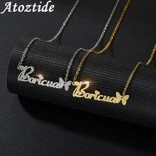 Atoztide-collier ras du cou personnalisé avec lettres dorées, en acier inoxydable, 2020, pendentif avec nom givré, cadeau