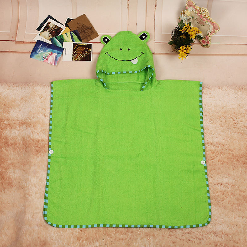 Autumn And Winter CHILDREN'S Bathrobes Cartoon Frog Baby Mantle Bathrobe Bath Towel Cloak Long Hooded Mantle Cover