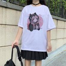 Футболка Ovzersied женская с коротким рукавом, Повседневная рубашка в стиле аниме, топ в стиле Харадзюку, Винтажная летняя одежда