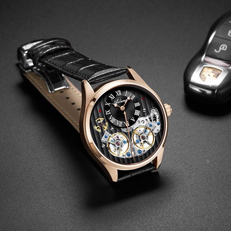 Top luxury ยี่ห้อผู้ชายราคาแพงนาฬิกาอัตโนมัติ mechanical คุณภาพนาฬิกาโรมันคู่ tourbillon Swiss นาฬิกาหนังชาย 2019-ใน นาฬิกาข้อมือกลไก จาก นาฬิกาข้อมือ บน   1