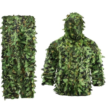 Sticky Flower Bionic Leaves Camouflage Suit Hunting Ghillie Suit Woodland Camouflage Universal Camo Set 1