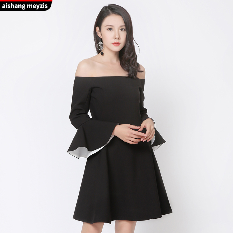 2017 Autumn New Style Fashion Off-Shoulder Black And White With Pattern-Flounced Sleeves Off-Shoulder Evening Gown Dress Nv Zhon