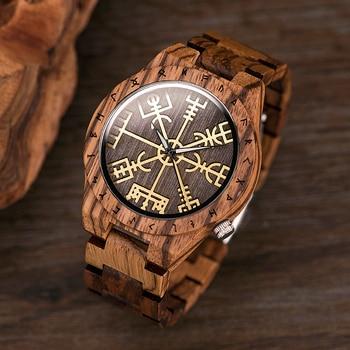 BOBO BIRD Male Watch Wooden Men watches Golden Compass Guide Luminous Hands Wristwatch In Gift box relojes para hombre