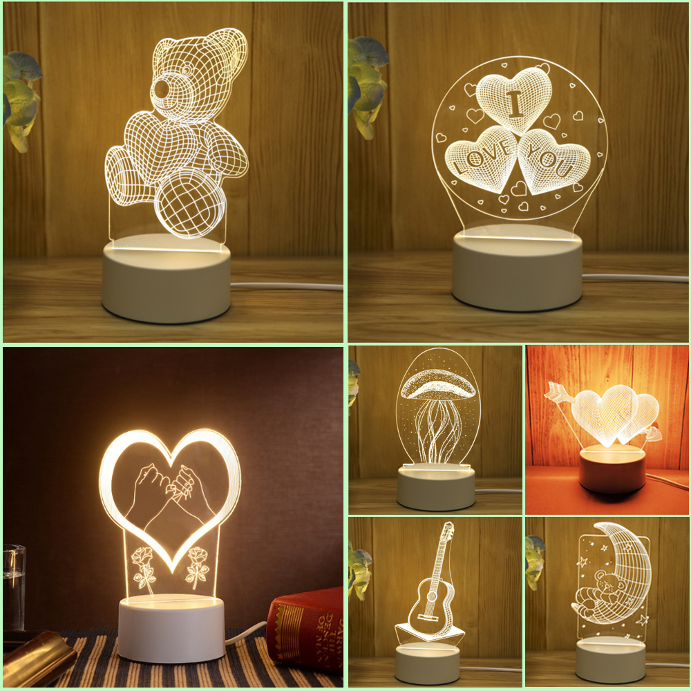 Newest Acrylic The neon lights 3D stereo Night light Small table lamp Bedside lamp LED lamp