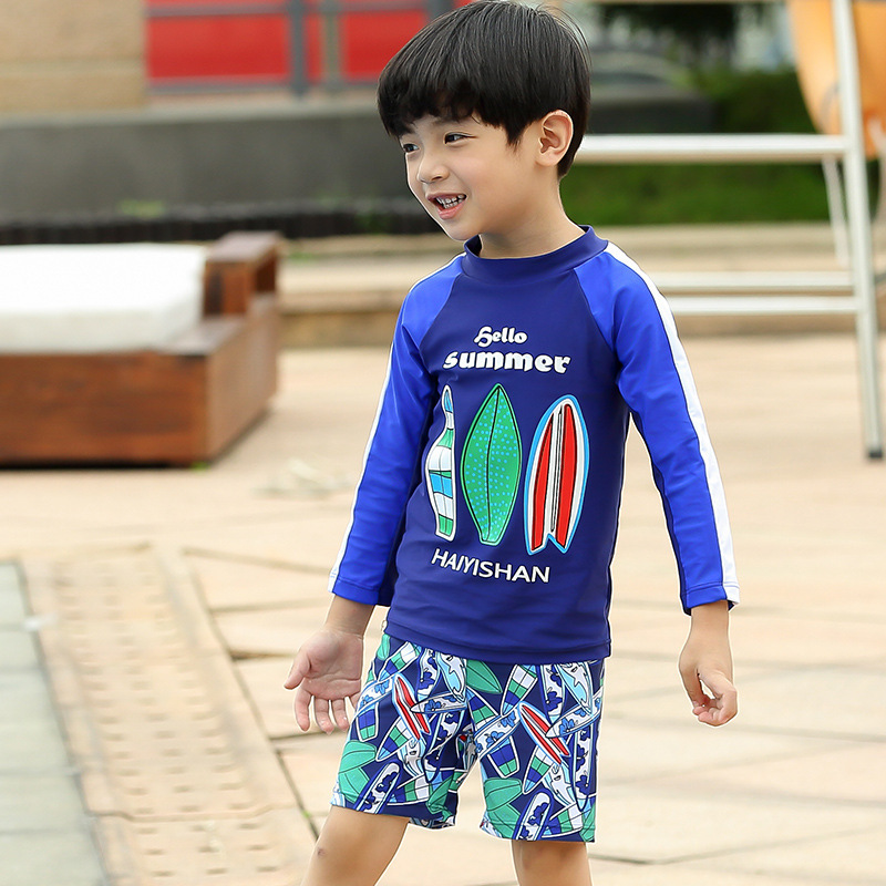 KID'S Swimwear Boy Quick-Drying Split Type Swimwear BOY'S Young STUDENT'S Big Boy Swimming Trunks Baby Hot Springs Bathing Suit