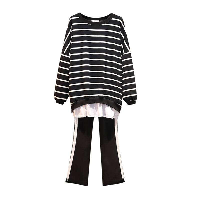 Women's Stripe Sports Suit Large Plus Size XL-5XL Tracksuit Loose Long T Shirt+pants Two Piece Set Autumn Clothes Matching Set