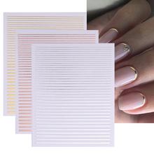Schwarz Weiß 3D Nagel Aufkleber Geometrie Streifen Linie Design Slider Decals Stripingklebebandnagelkunst Klebstoff Aufkleber Dekoration cheap CN (Herkunft) 6 4cm*5 3cm 46528 Sticker Aufkleber Paper 1 Pc Water Decals