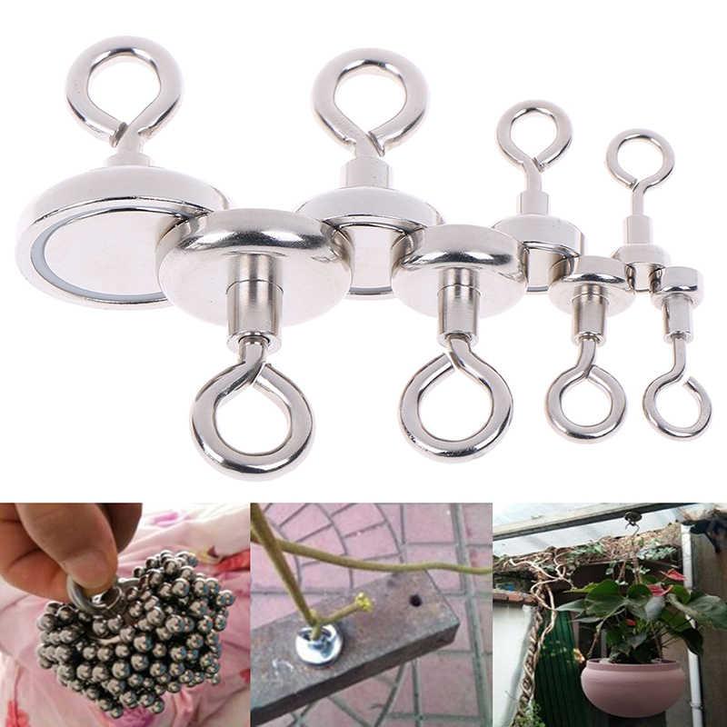 1PC Magnet Yang Kuat Neodymium Magnet Bulat Tebal Eyebolt Berburu Harta Karun Magnet Permanen Magnetic Memancing Langka Bumi Magnet