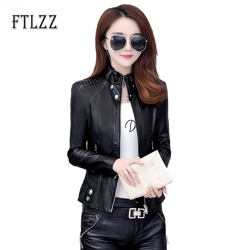 2019 Women Biker Moto Style Leather Jacket Women Slim Plus Size Short PU Outerwear Autumn Ladies Zipper Red Faux Leather Coats