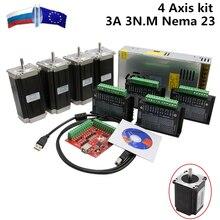 RUS Ship CNC Router 3 4 Axis kit 3A 3N.M Nema 23 425 Oz-in Stepper motor TB6600 driver+350W power supply MACH3 Controller card(China)