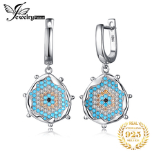 цена на JPalace Simulated Turquoise Dangle Drop Earrings 925 Sterling Silver Earrings For Women Gem Korean Earrings Fashion Jewelry 2019