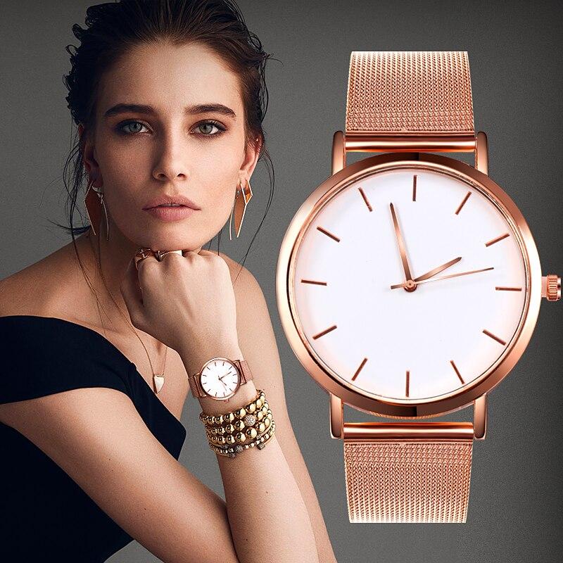 Moda kadın saatler basit romantik gül altın izle kadın kol saati bayanlar İzle relogio feminino reloj mujer Dropship