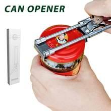 Multifuncional abridor de lata de aço inoxidável cozinha casa pode abrir sem esforço abridor com botão de volta cozinha do agregado familiar dropshipping
