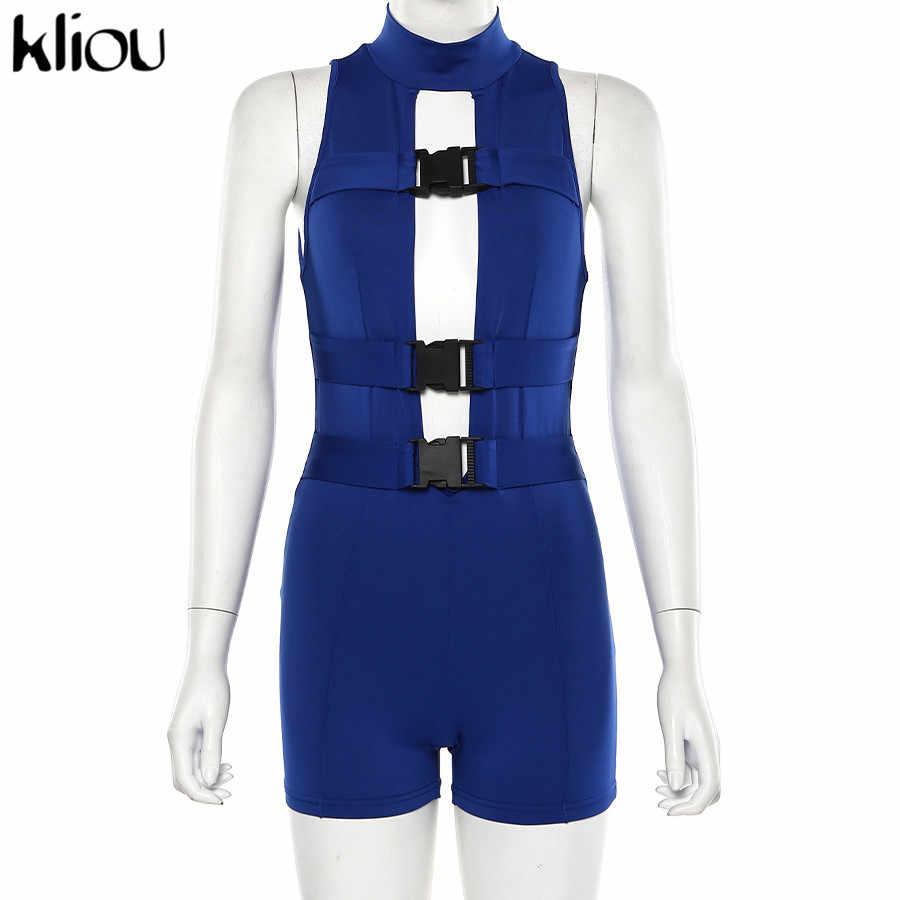 Kliou синий без рукавов выдалбливают комбинезон 2019 женские модные сексуальные вечерние обтягивающие боди невидимая молния на спине комбинезоны