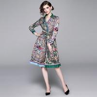 2019 Fashion Runway Ethnic Wind Colour Print Summer Women Swing Bow Sashes Shirt Elegant Casual Party Dress Vestidos Sukienki